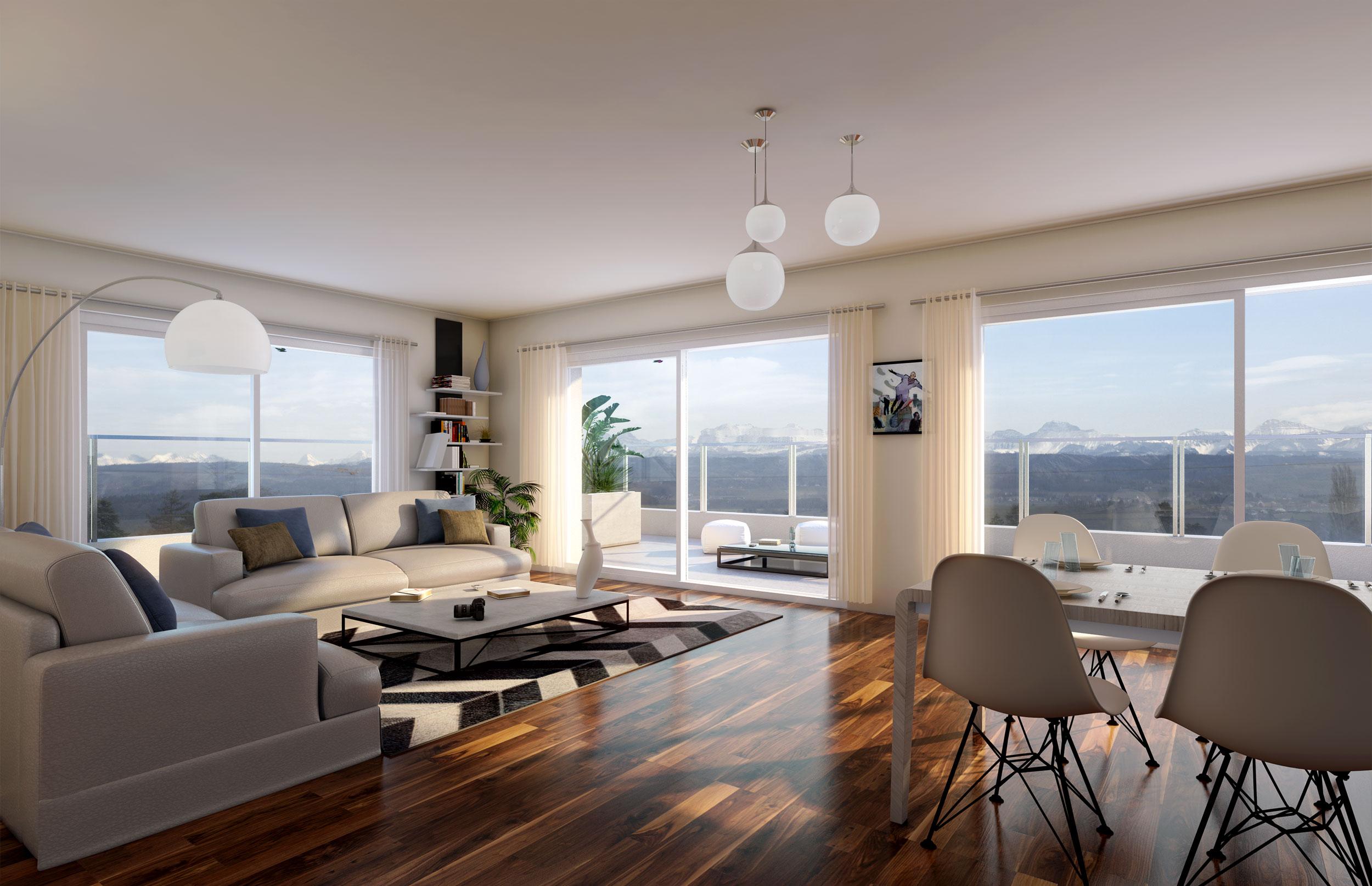 Illustration 3D perspective intérieure de promotion immobilière