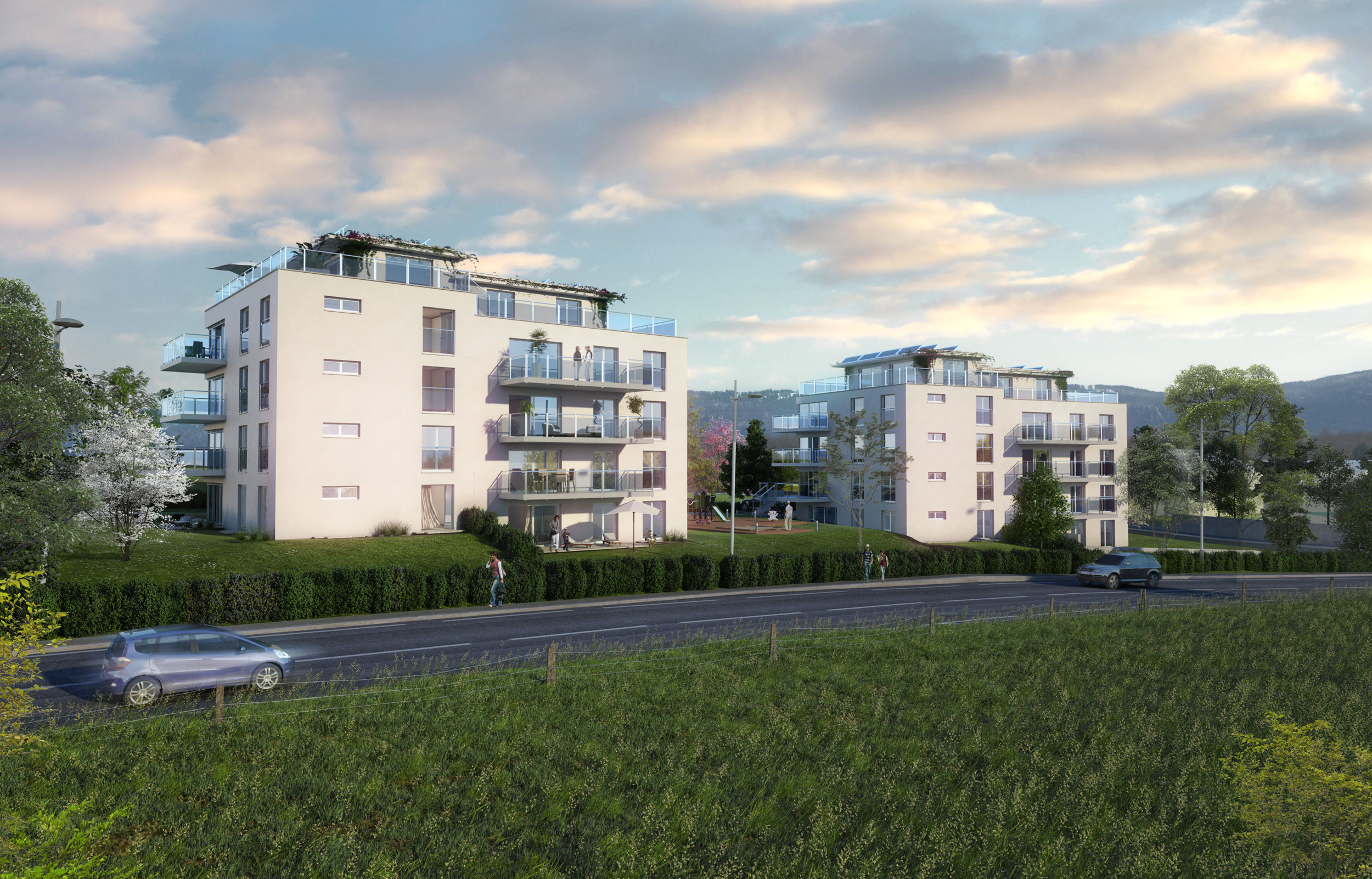 Illustration 3D perspective extérieure de promotion immobilière