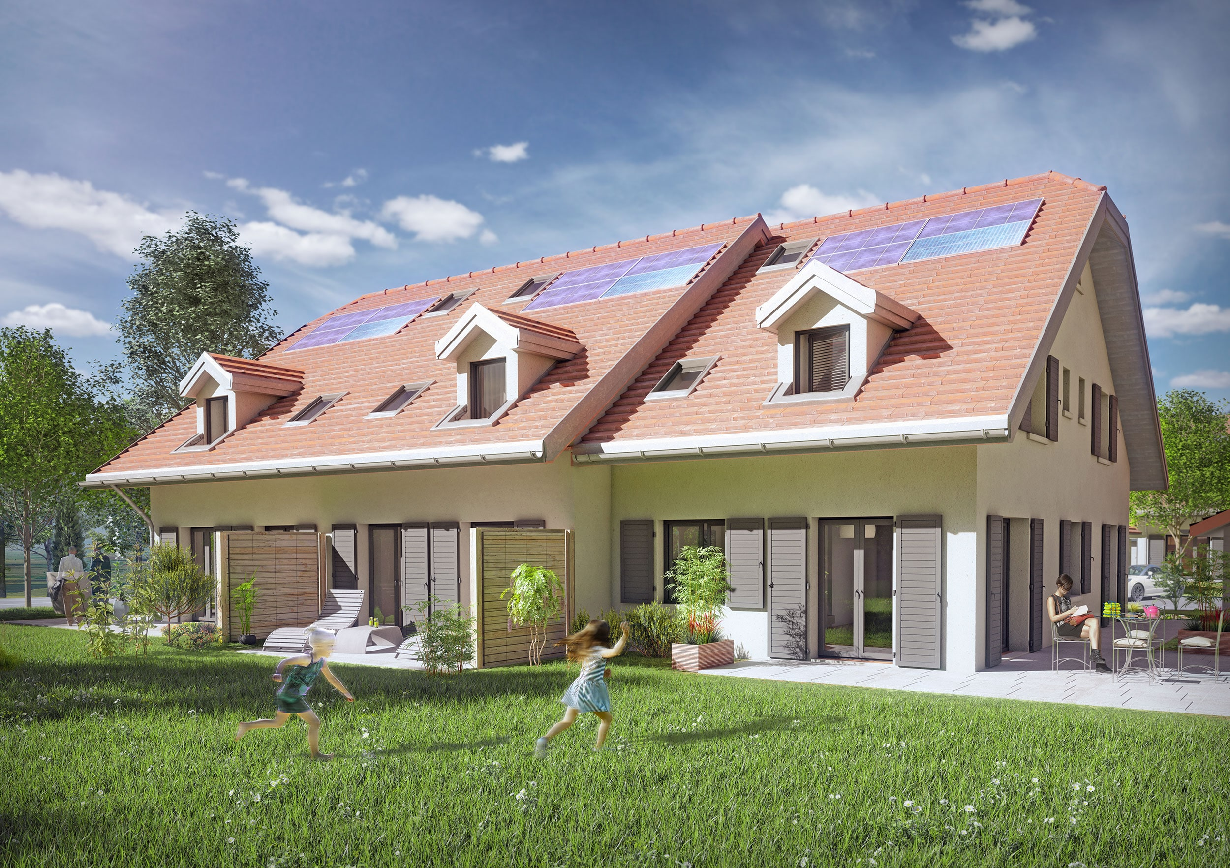 Illustration-perspective 3D villas d'un ensemble de résidences au style Vaudois, appartements en villas contiguës