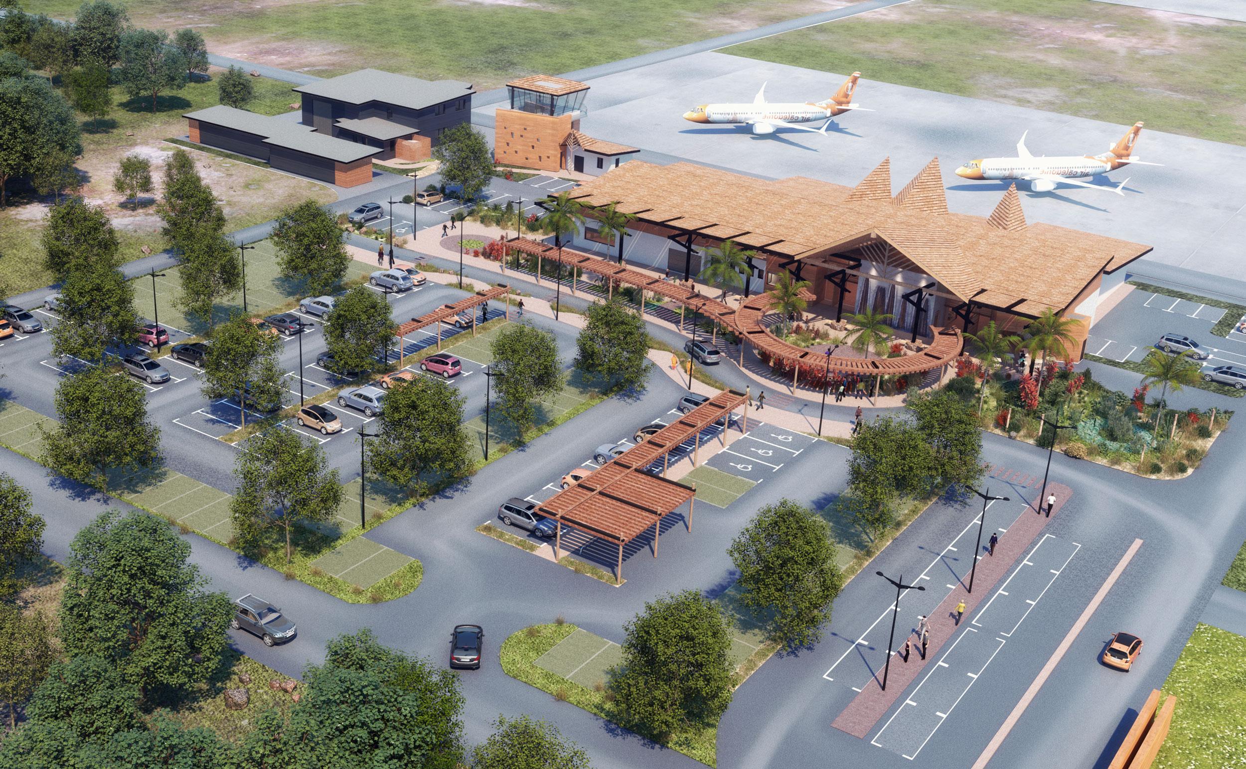 Illustration Concours Architecture Aérodrome de Koné, perspective aérienne