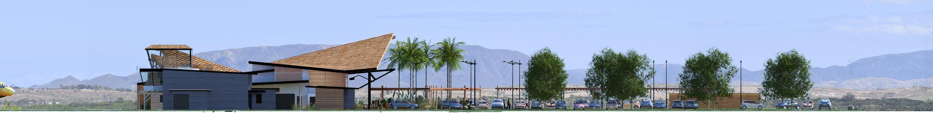 Illustration Concours Architecture Aérodrome de Koné, Façade Est