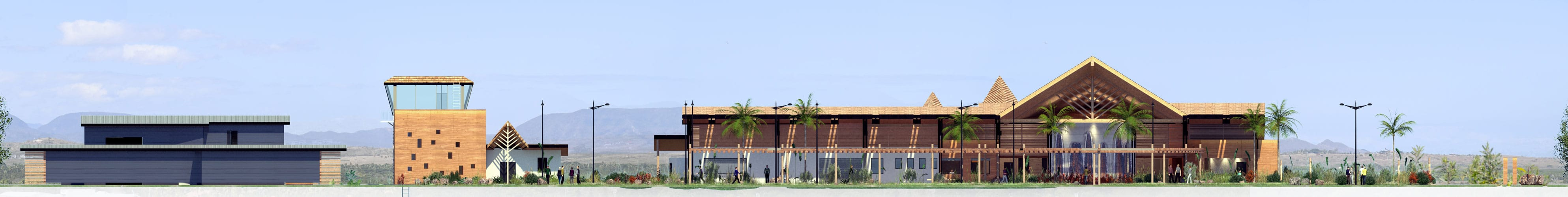 Illustration Concours Architecture Aérodrome de Koné, Façade Nord