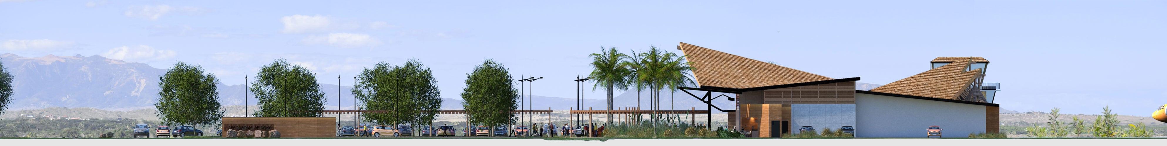Illustration Concours Architecture Aérodrome de Koné, Façade Ouest