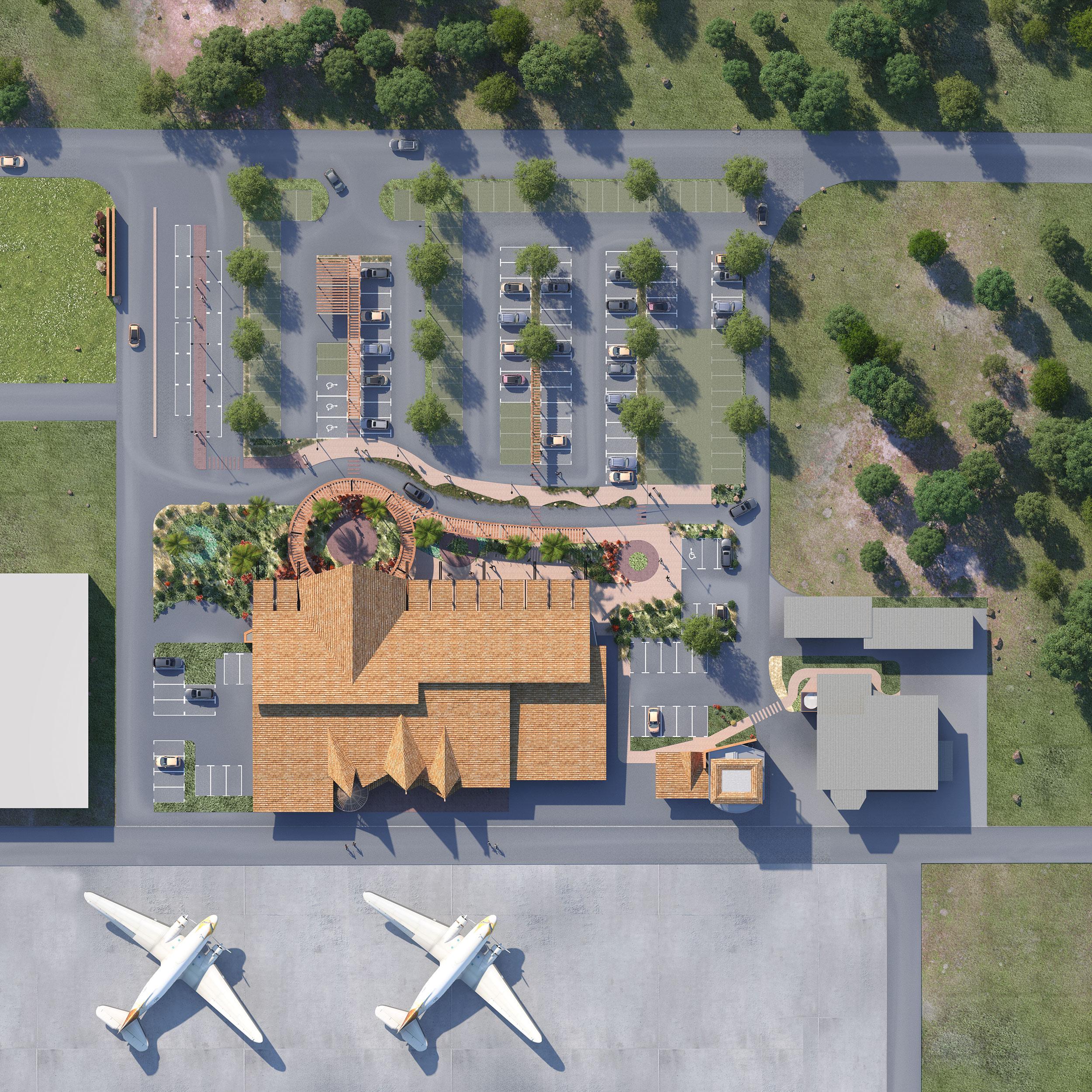 Illustration Concours Architecture Aérodrome de Koné, plan masse 3D