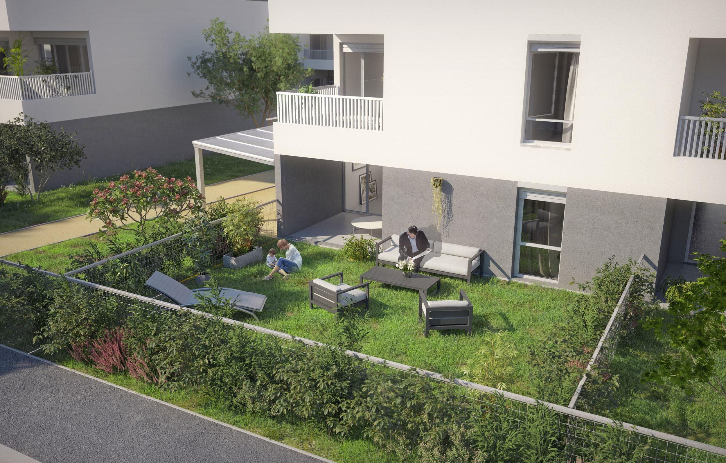 Programme Immobilier Logements Collectifs Canopée, vue extérieure avec jardin.