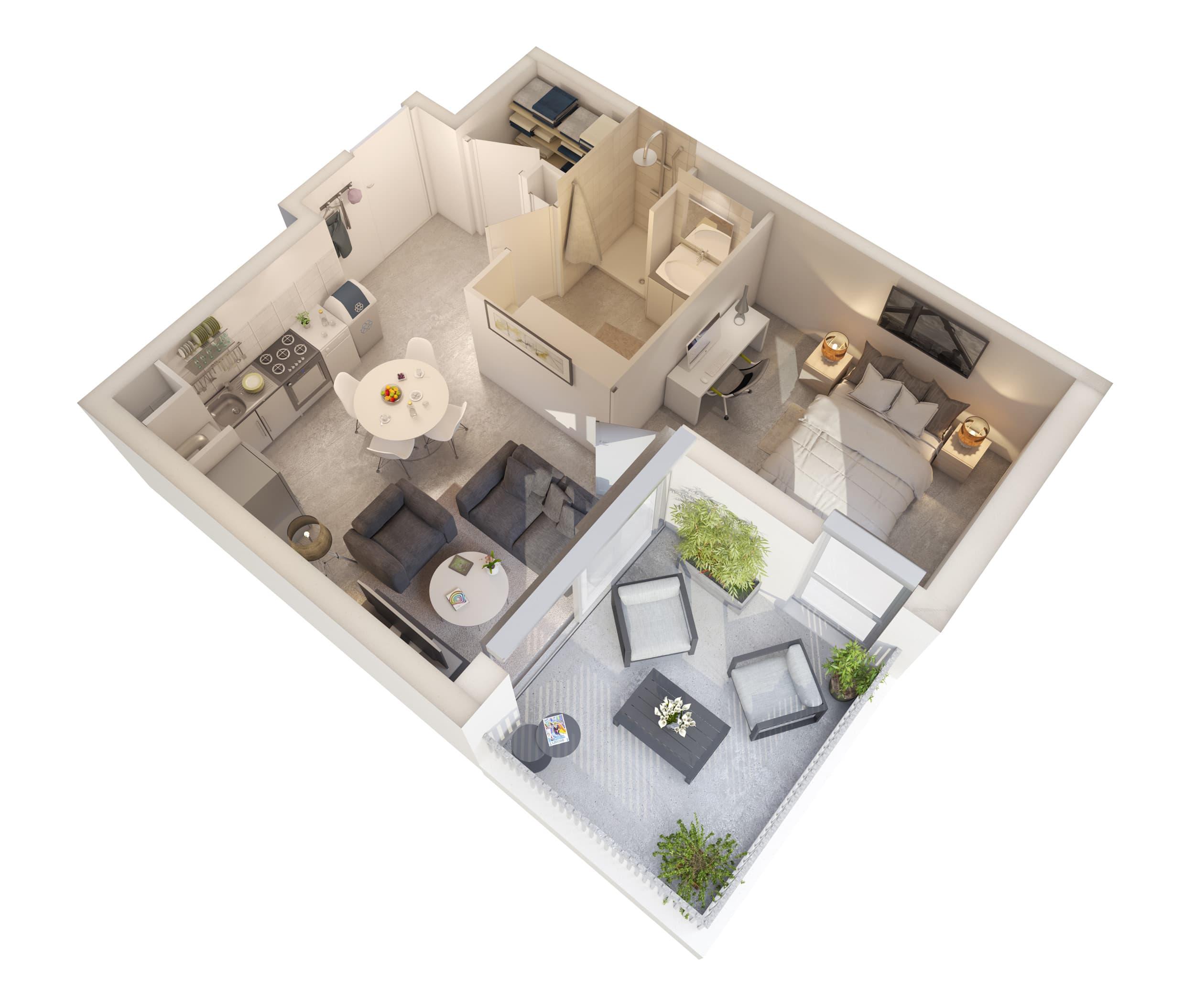 Modélisation d'intérieurs pour logements collectifs, aménagement intérieur type T2
