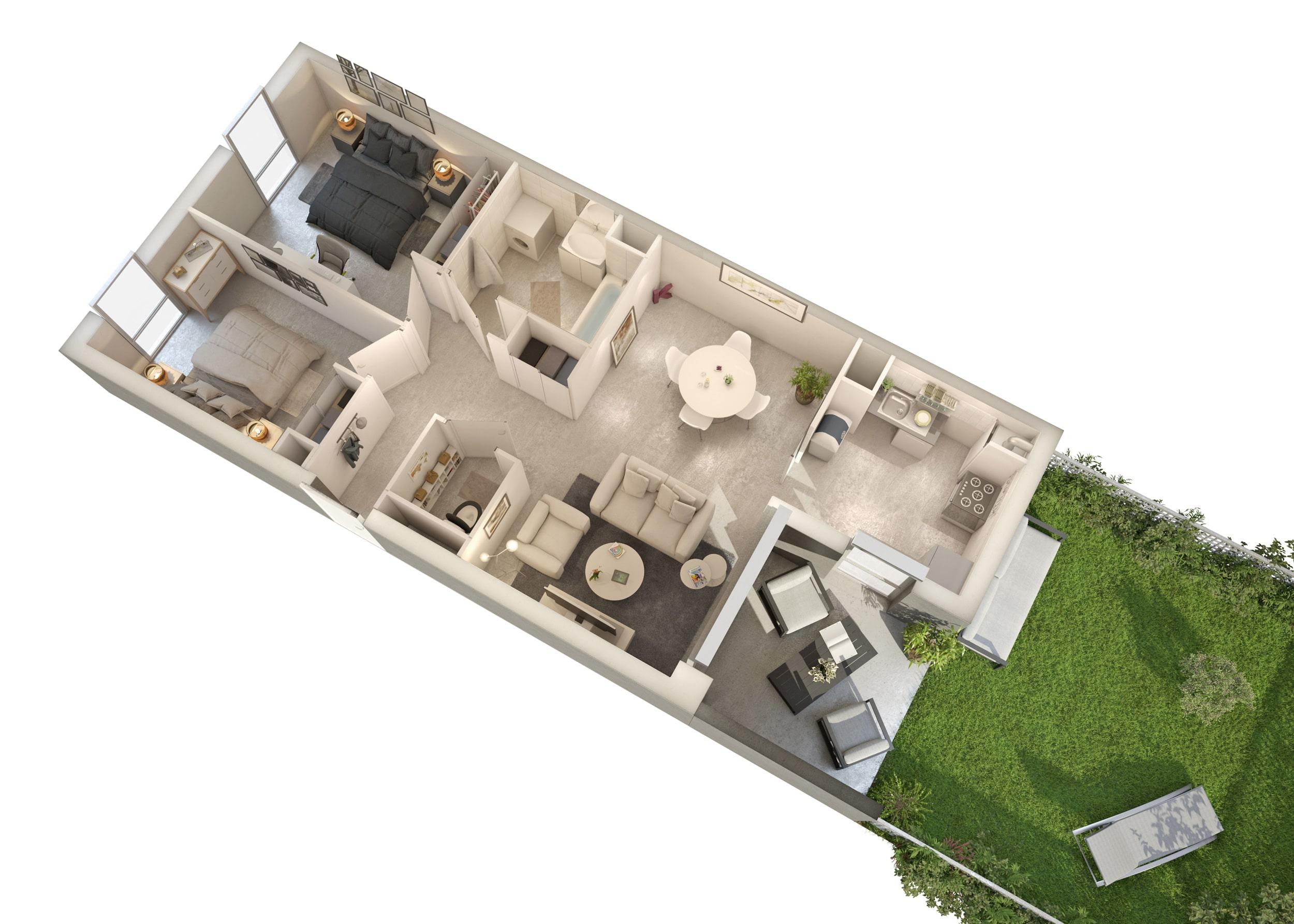 Modélisation d'intérieurs pour logements collectifs, aménagement intérieur type T3