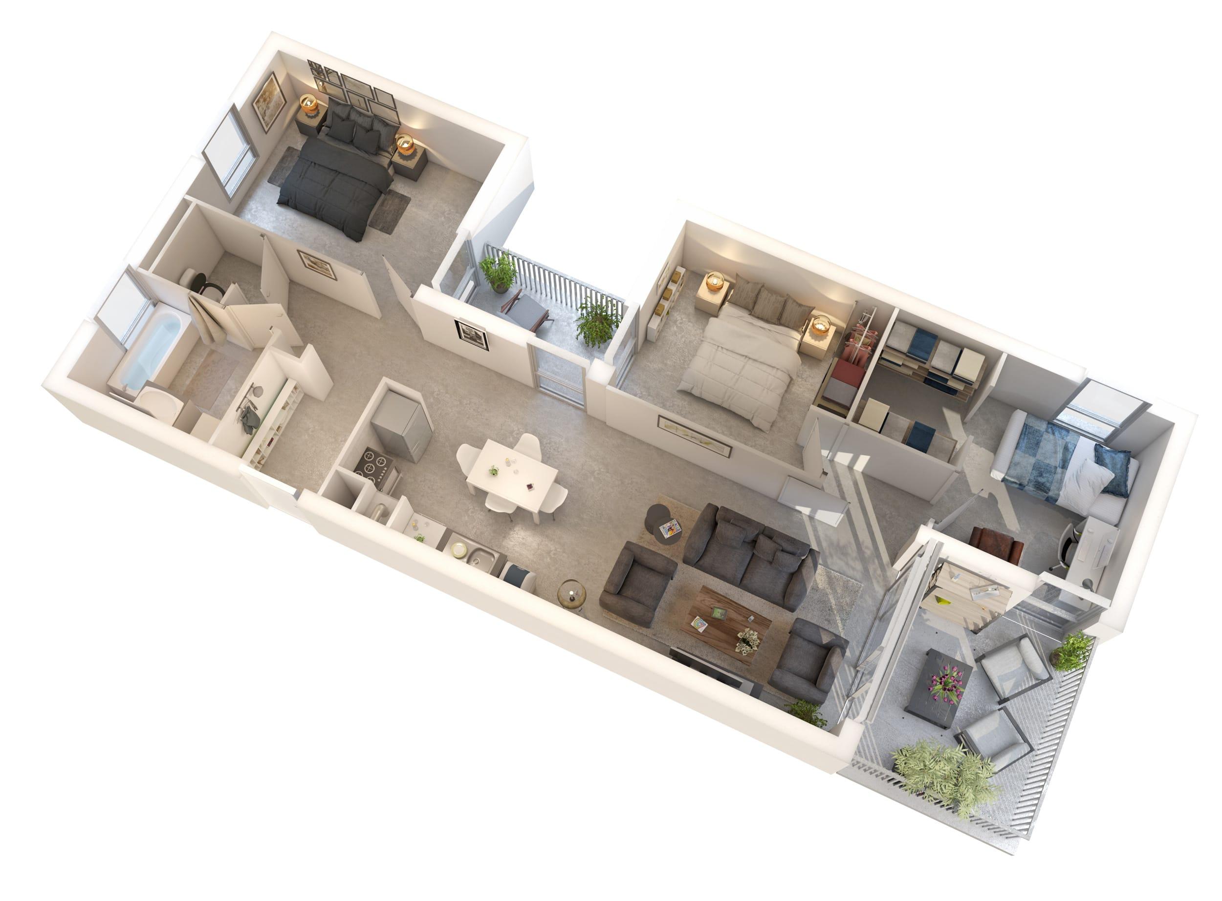 Modélisation d'intérieurs pour logements collectifs, aménagement intérieur type T4