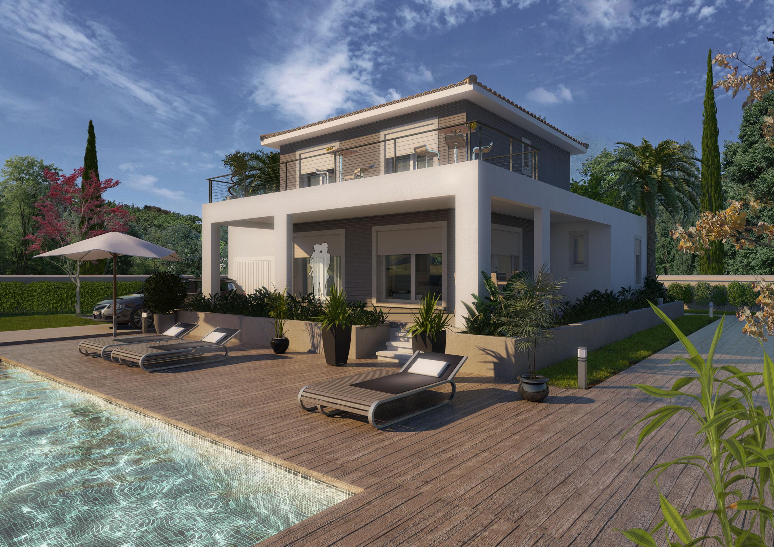 Perspective 3d Maison individuelle constructeur herault 34 Montpellier
