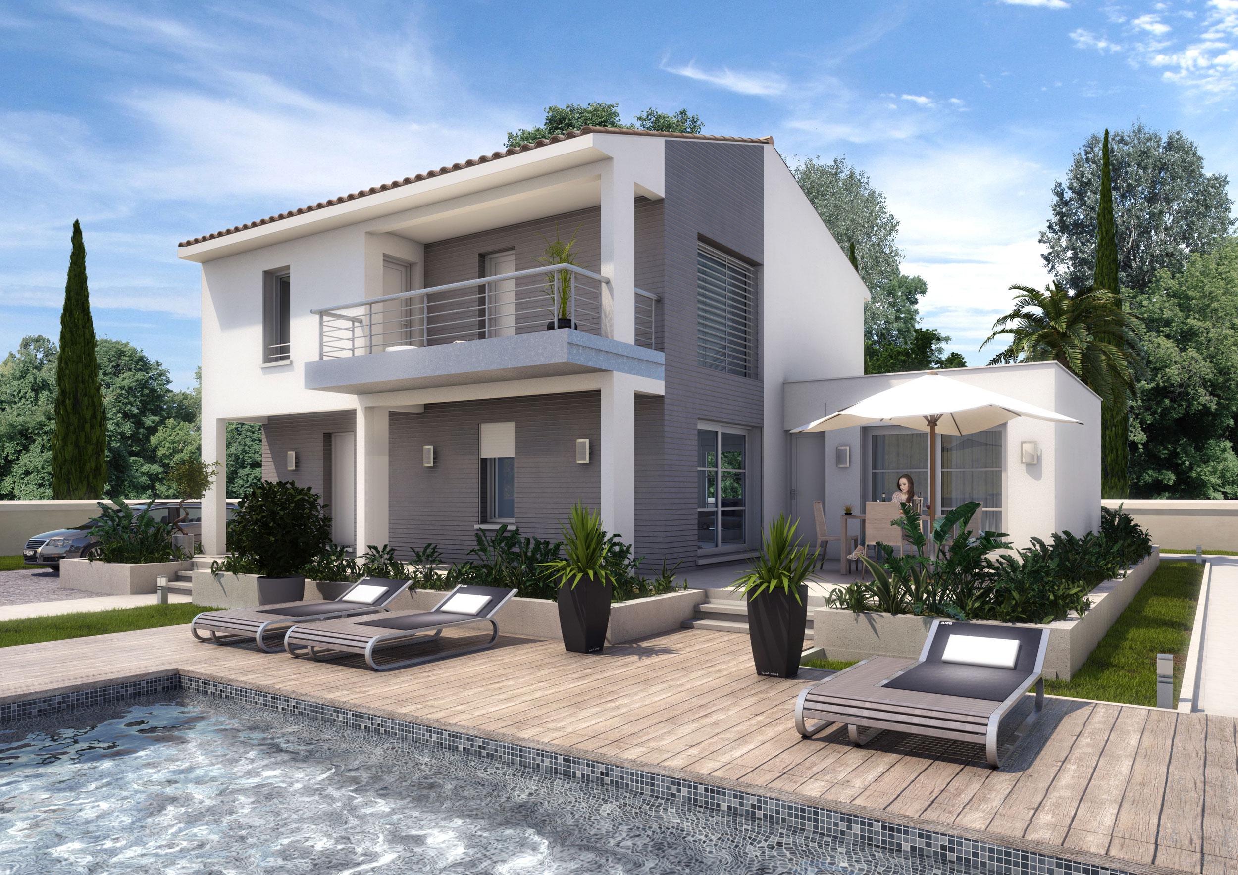 Perspective 3D maison individuelle promotion immobilière