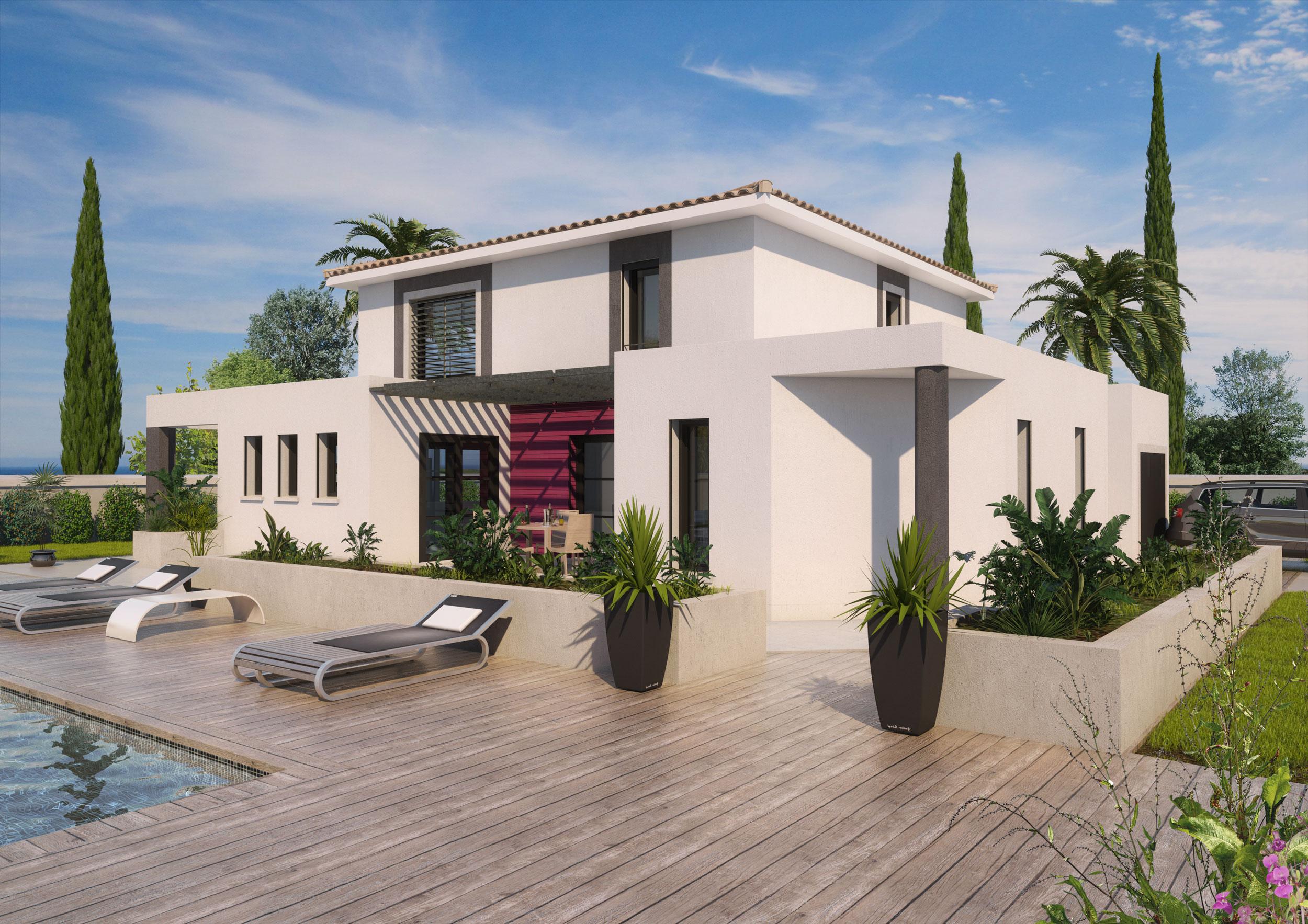 Image 3d Maison individuelle type amerique