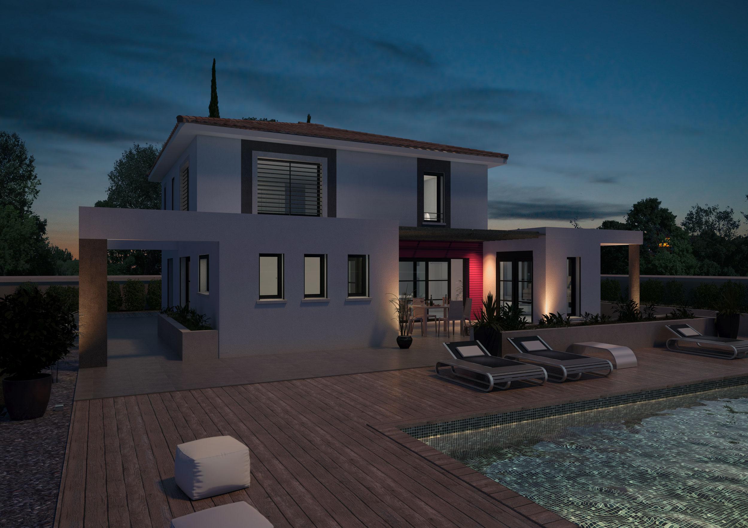 Image 3d Maison individuelle type Miami
