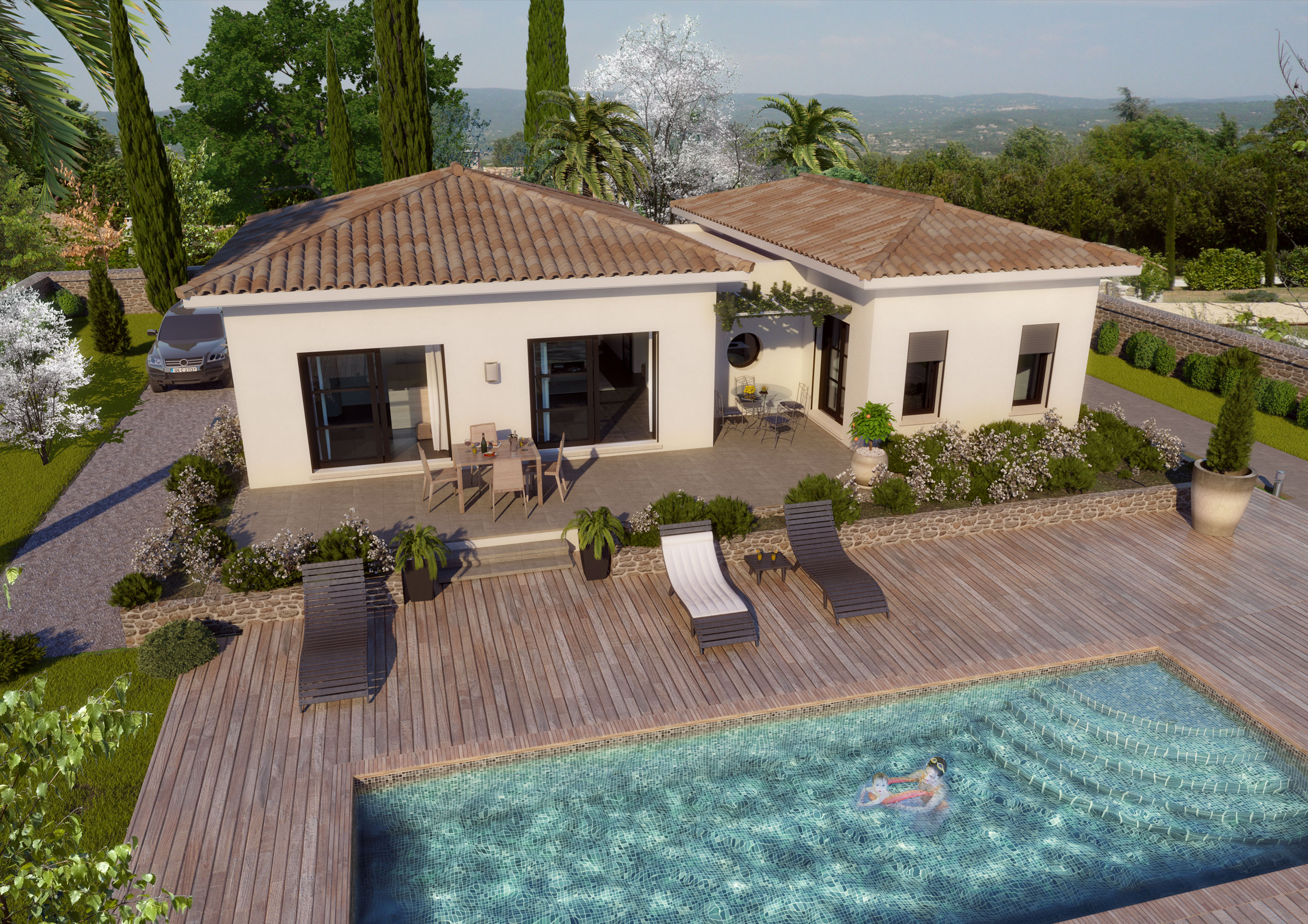 Image 3d Maison individuelle type méditerranée