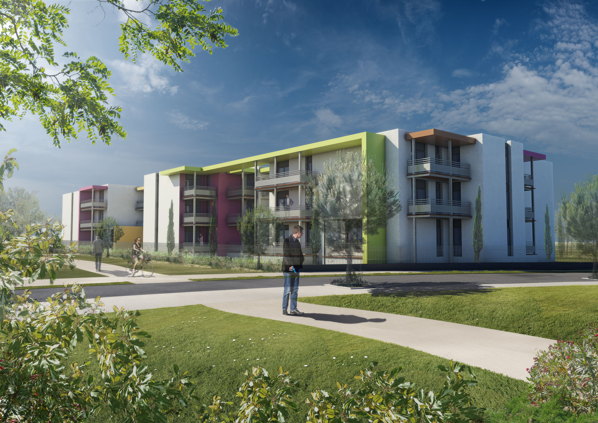Infographie 3d concours architecture logements collectifs for Projet d architecture